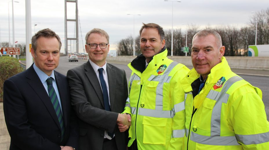 L-R: Andrew Arundel and Dr Kevin Moore (Humber Bridge) with Craig Foyle and Ray Bone (IOSH).